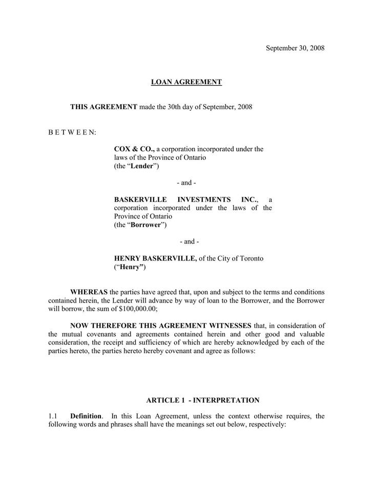 Free Download Loan Agreement Template