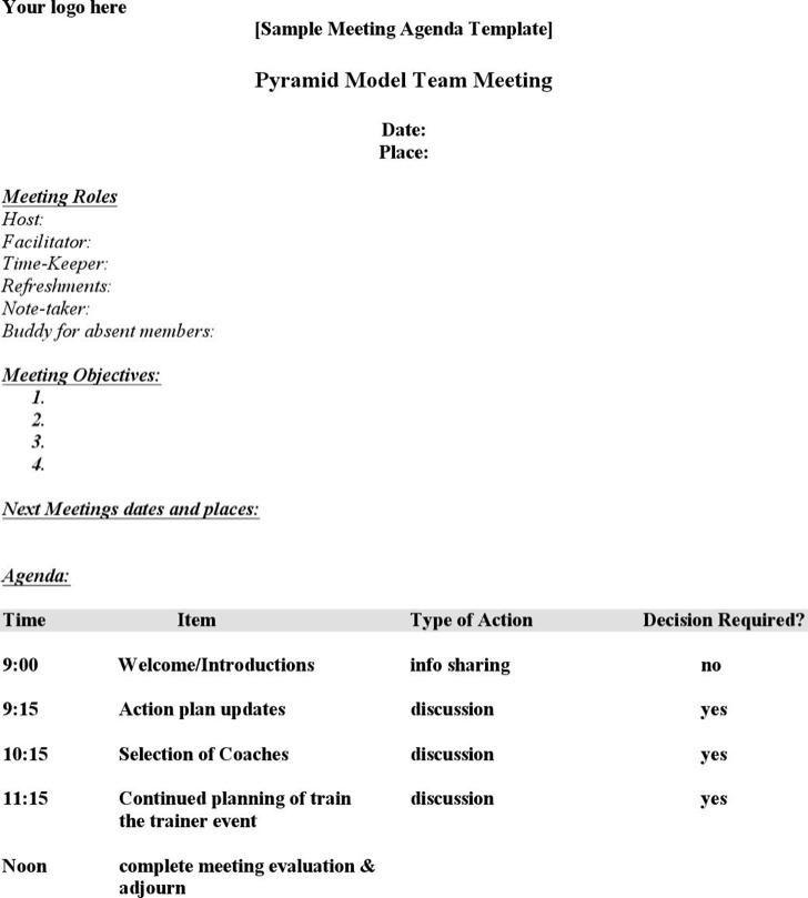 Free Download Meeting Schedule Word Format