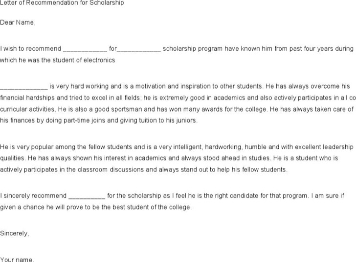 Free Download Recommendation Letter For A Friend For Scholarship