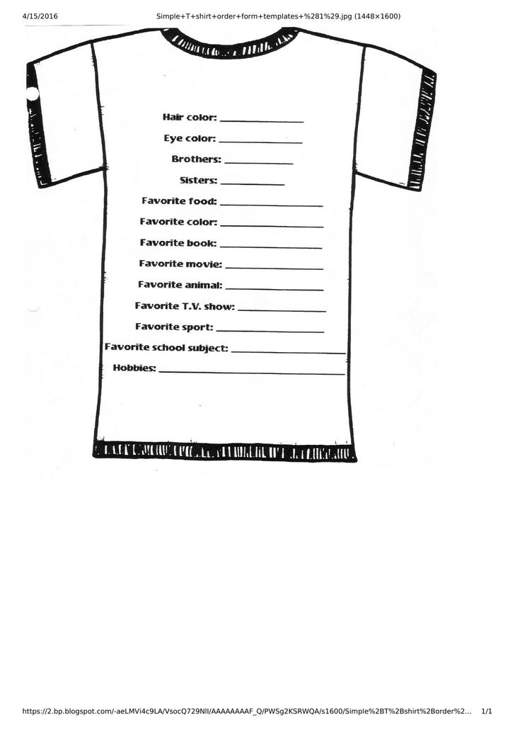 Free Download Simple T-shirt Design Order Form Template