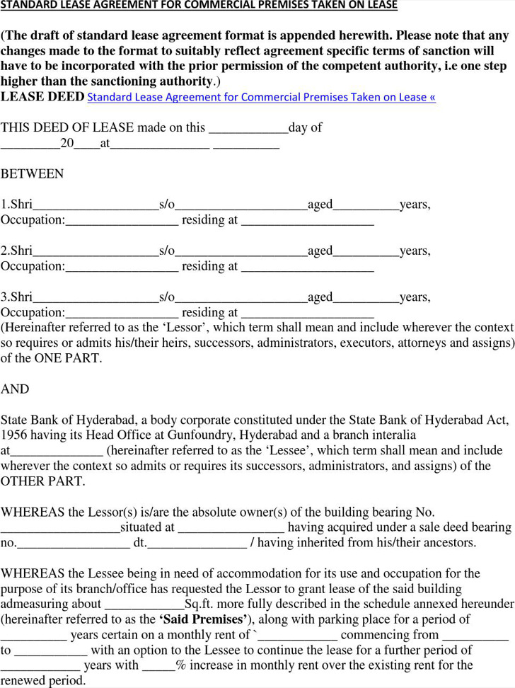 Free Download Standard Commercial Lease Agreement