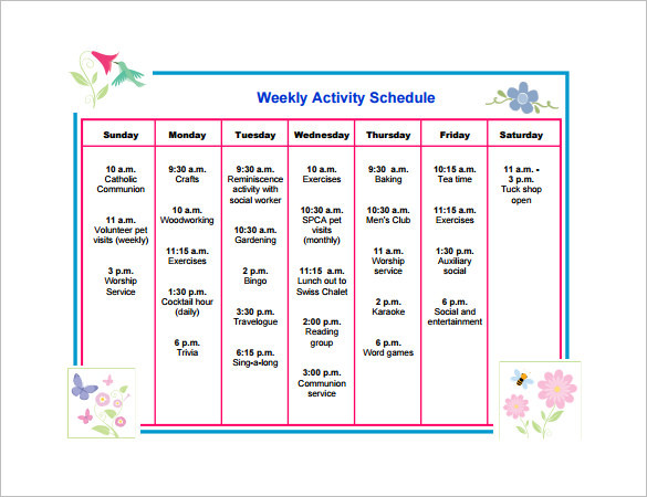 Free Download Weekly Activity Schedule Template PDF