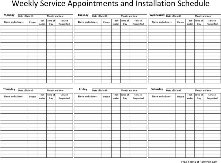 Free Download Weekly Appointment Schedule Template