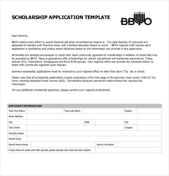 Free Downloadable Scholarship Application Form