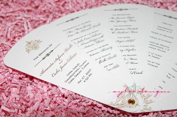 Free Fan Wedding Program Template Download