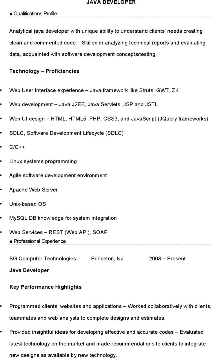 Free Java Developer Resume Download