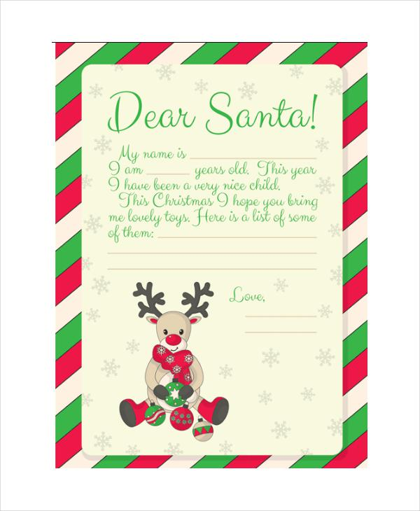 A Letter To Santa Template: Download Printable Santa Letter Template For Free