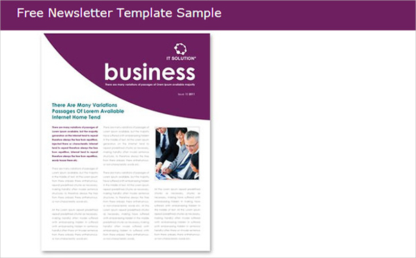 Free Newsletter Template Sample