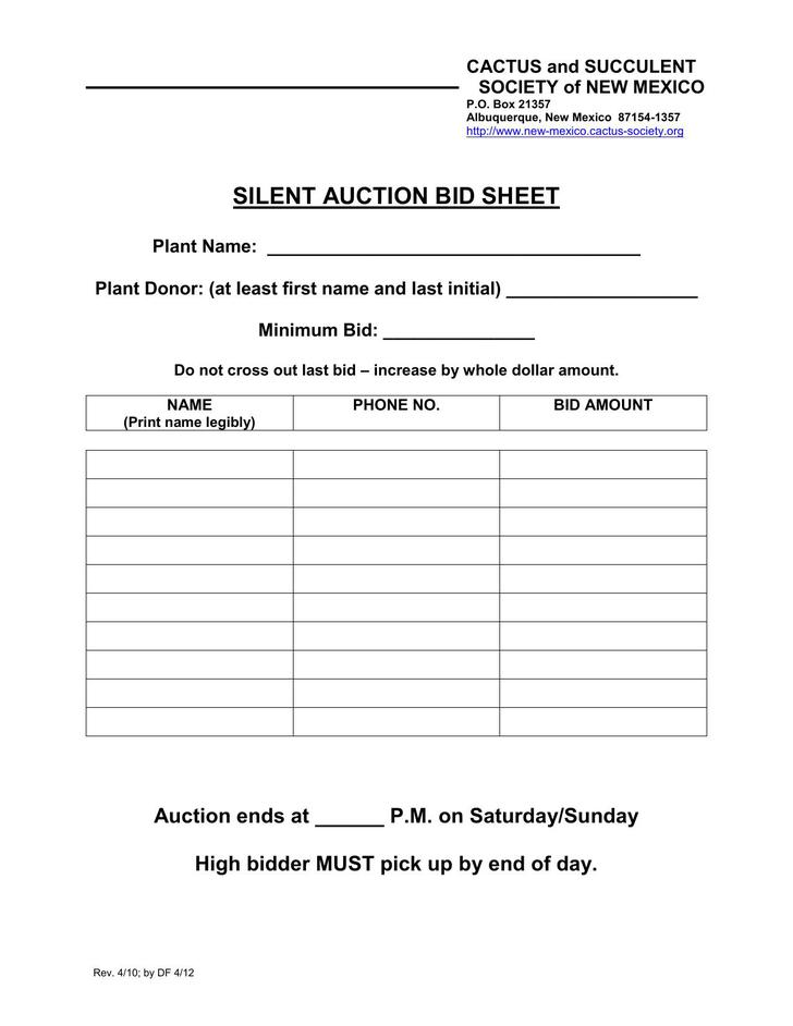 auction program template - 29 silent auction bid sheet template free download