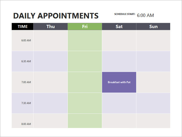 Free Printable Appointment Schedule Template