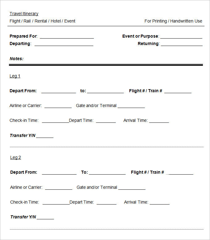 Download Sample Blank Itinerary Templates for Free TidyTemplates
