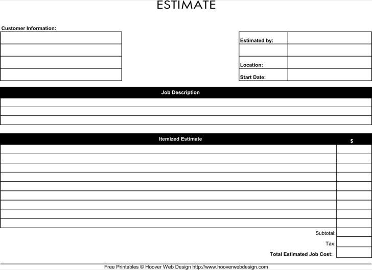 Free Printable Job Estimate Form Template In Pdf