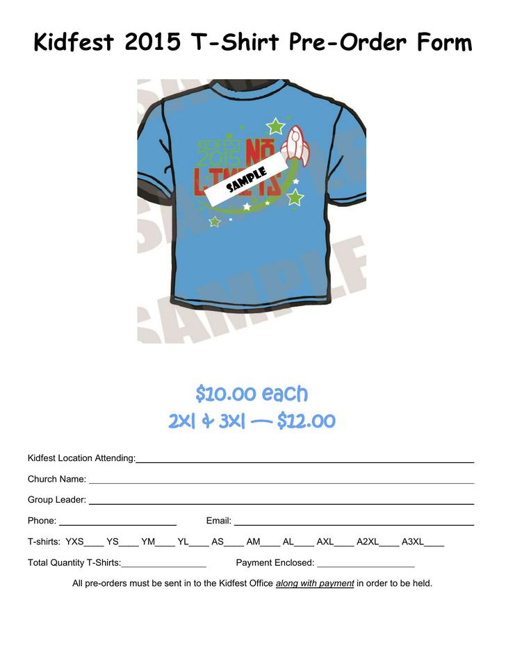 Free Printable Kidfest T-Shirt Pre-Order Form Template