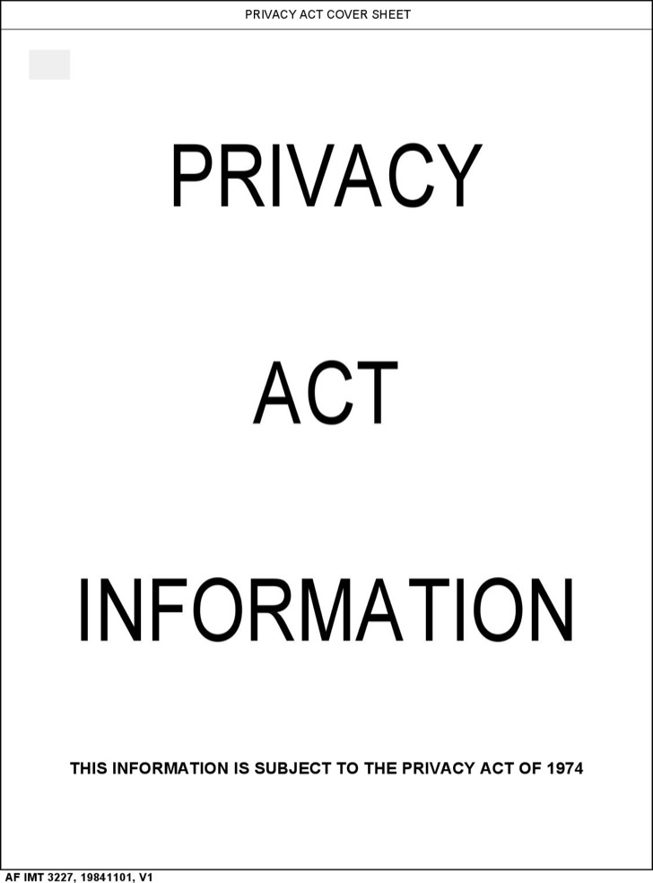 Free Privacy Act Covet Sheet Template
