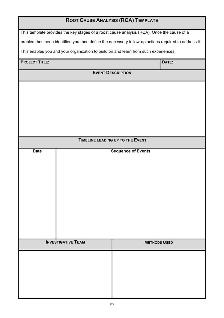 Free Root Cause Analysis Template