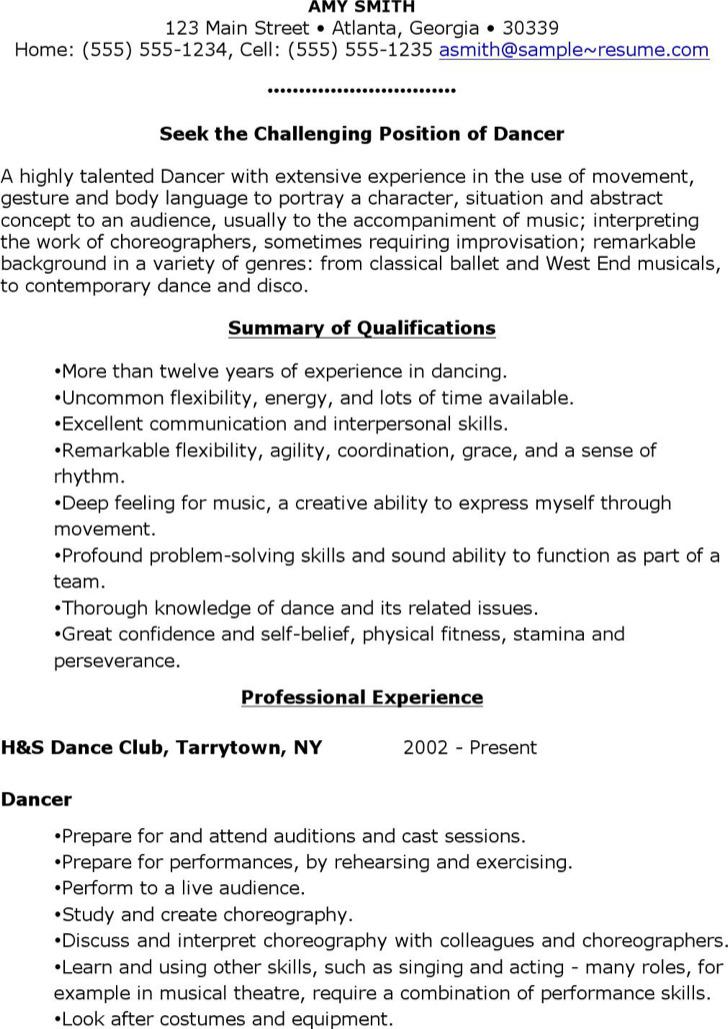 Free Sample Dancer Resume