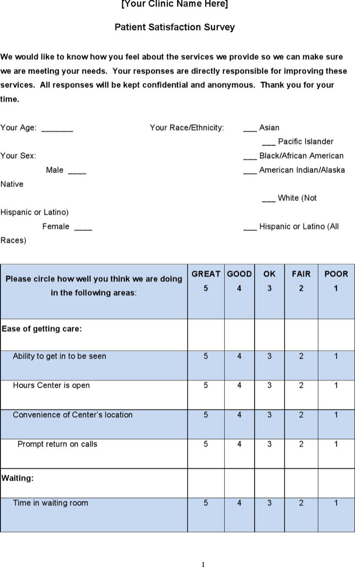 Free Sample Patient Satisfaction Survey Download