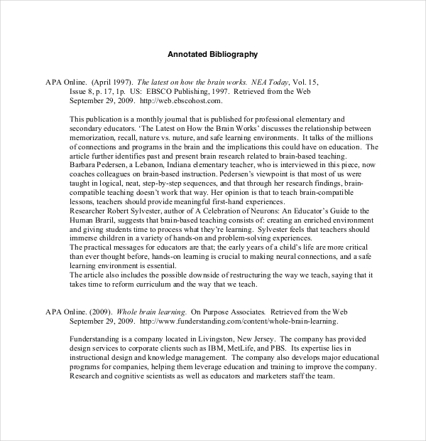 Free Sample Teaching Annotated Bibliography Template