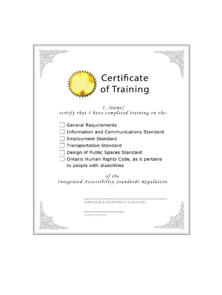 Free Training Certificate