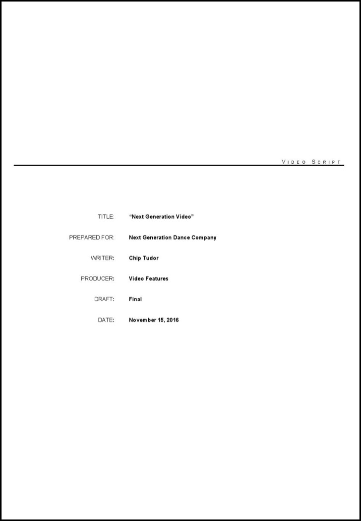 Free Video Script Outline Template Ms Word Download