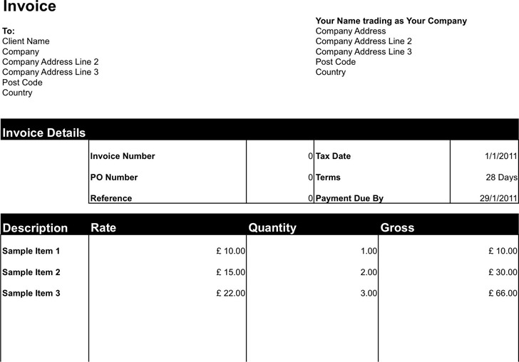 Freelance Invoice Template for Sole Trader