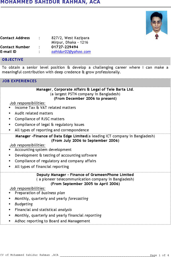 Fresher Chartered Accountant Resume