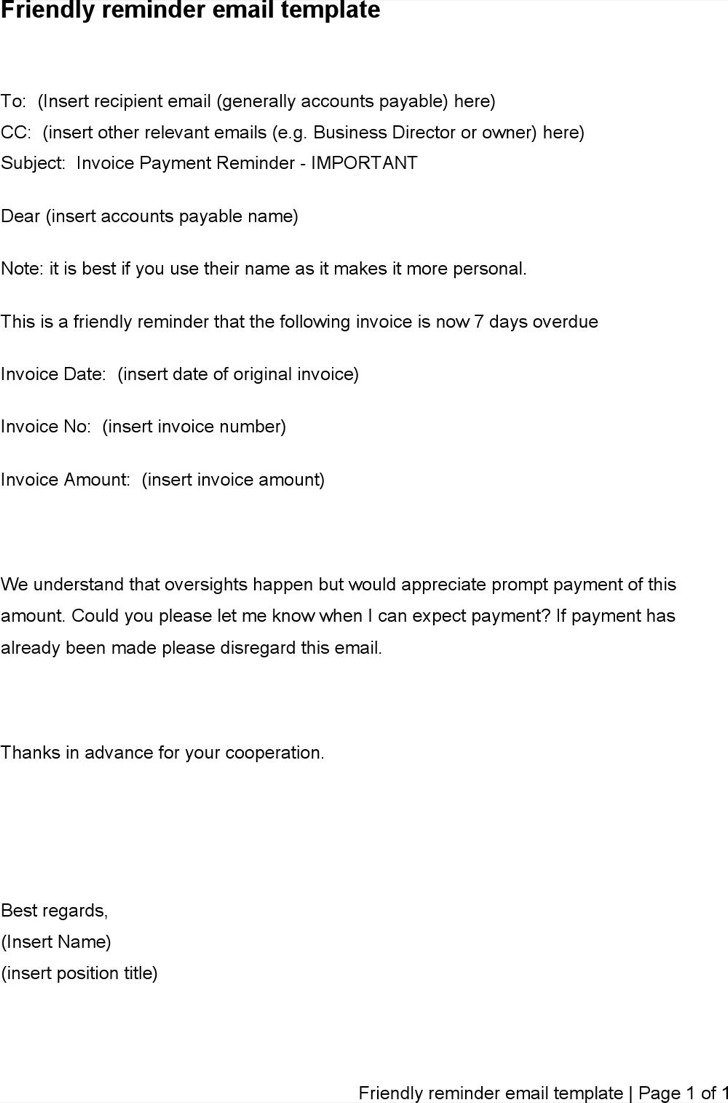 friendly payment reminder letter