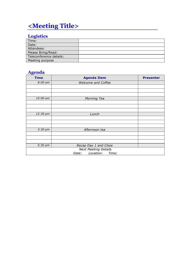 Full Day Meeting Agenda Template Free Download