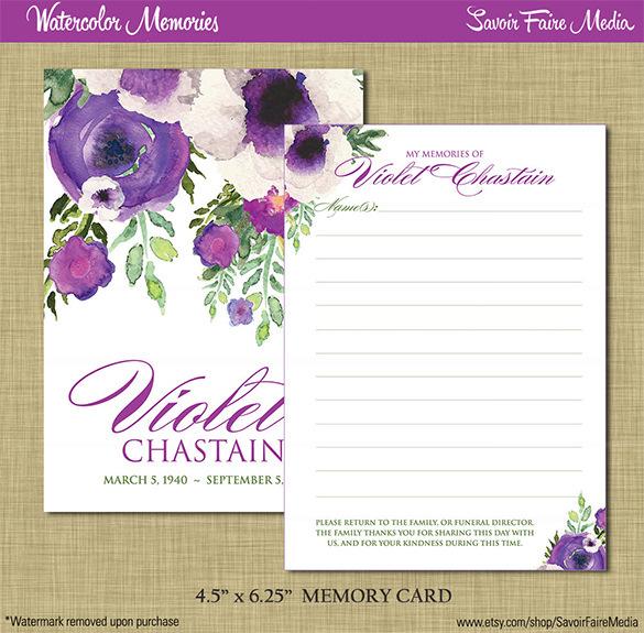 Funeral Memorial Memory Card Printable