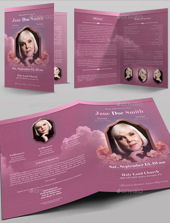 Funeral Program Full Page Bi-Fold Template