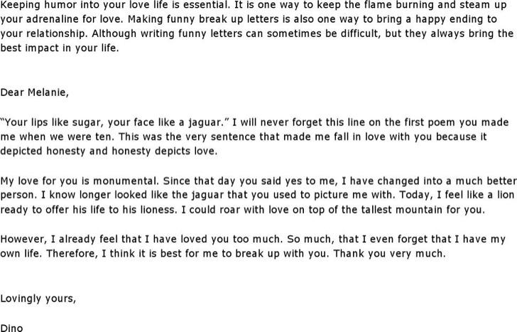 Funny Break Up Letter