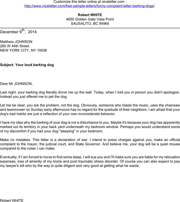 Funny Complaint Letter About Barking Dogs Printable Pdf