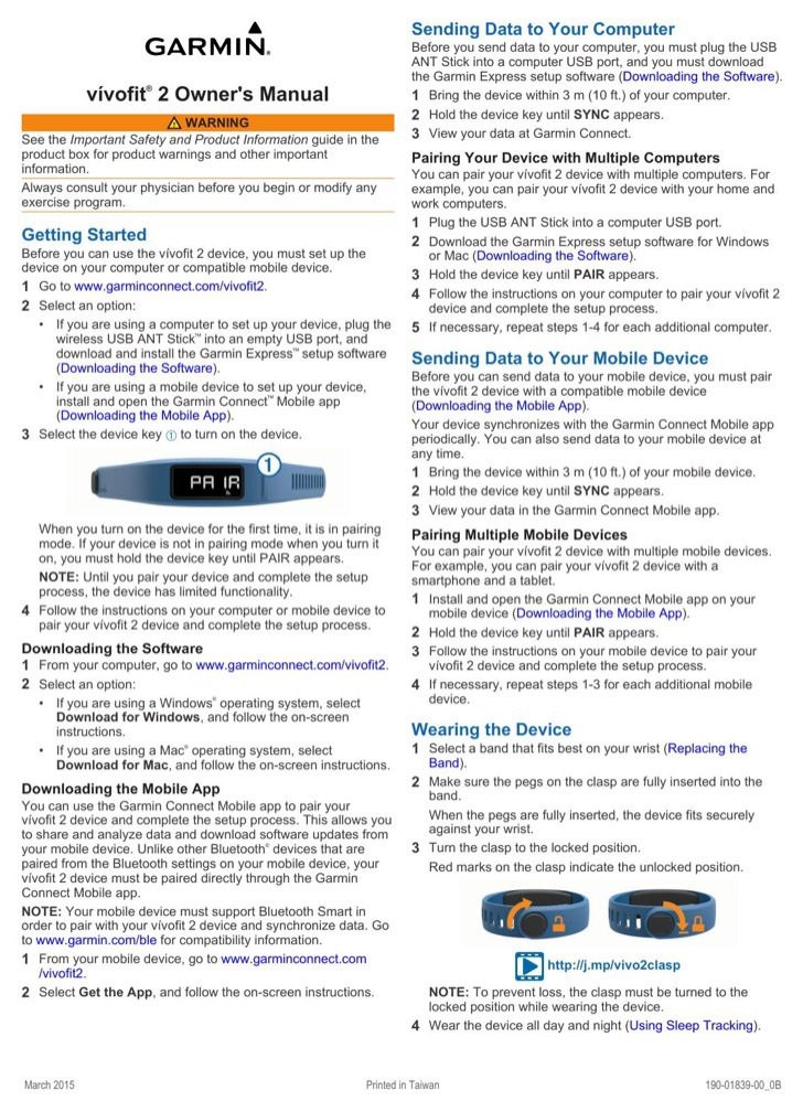 Garmin Owners Manual Sample