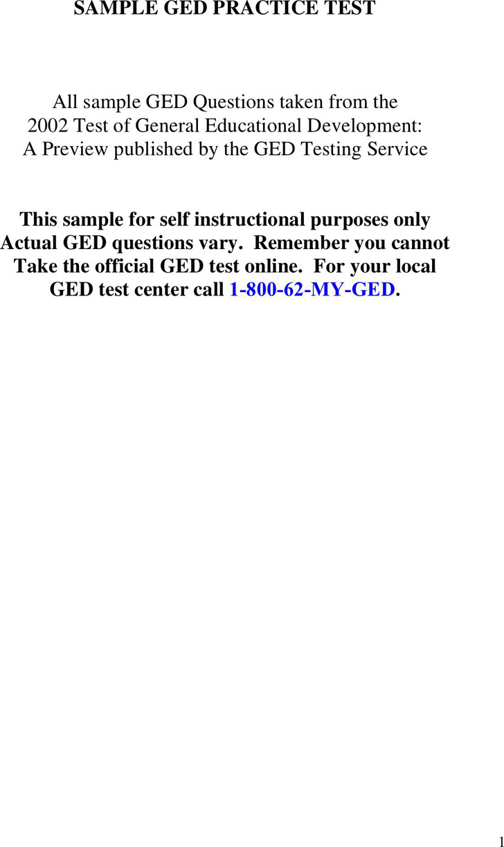 GED Sample Test Template 2