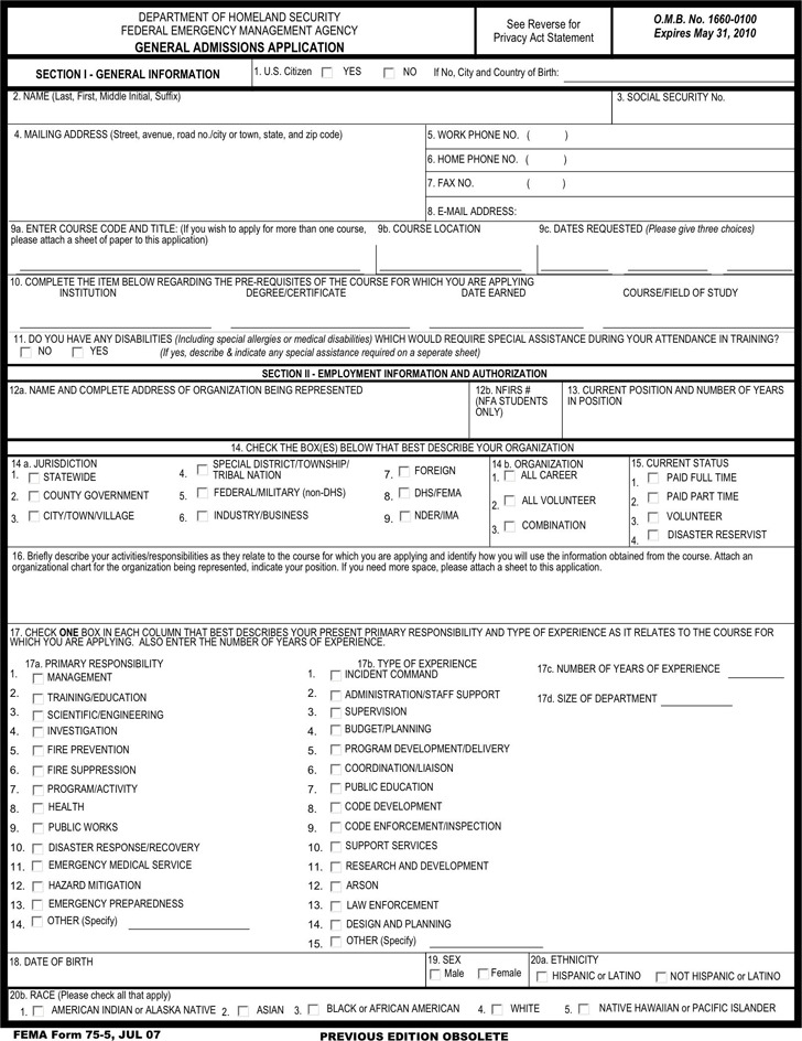 General Admissions Application