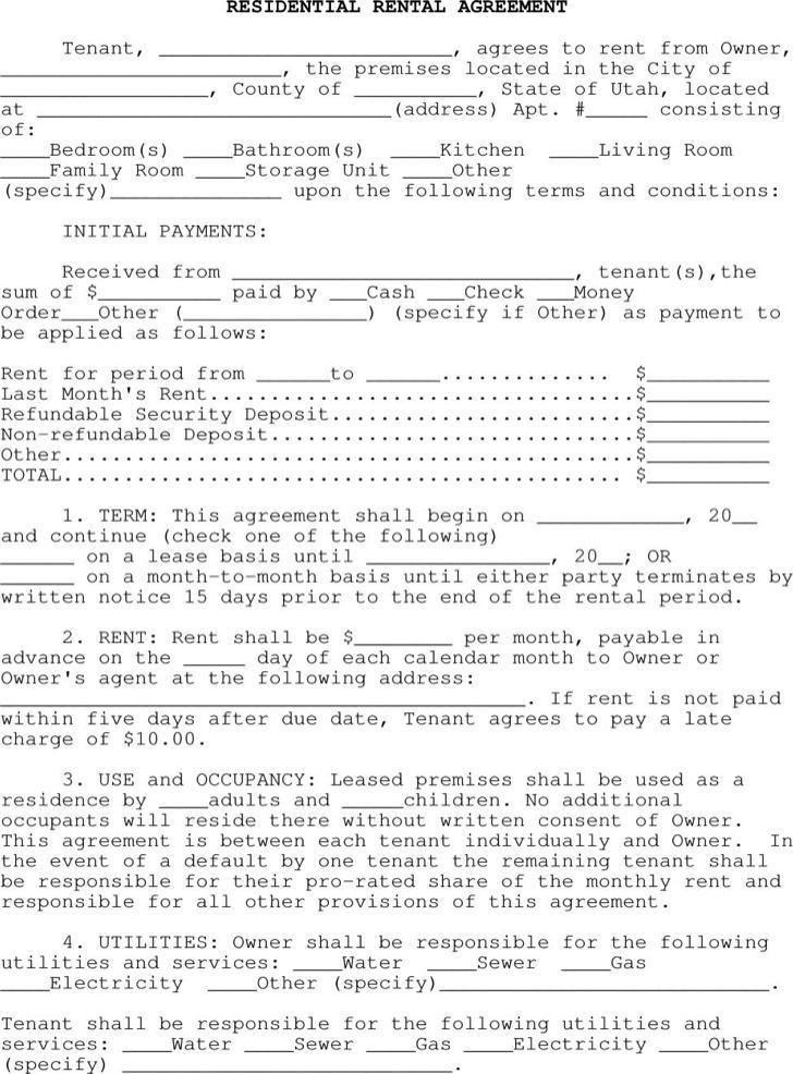 General Apartment Rental Agreement
