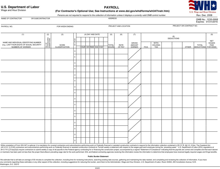 General Certified Payroll Form