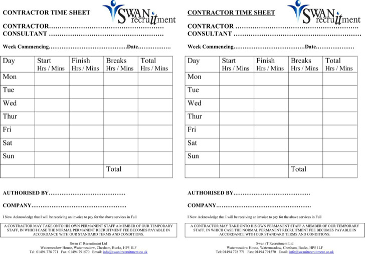 General Contractor Timesheet Template Pdf Download
