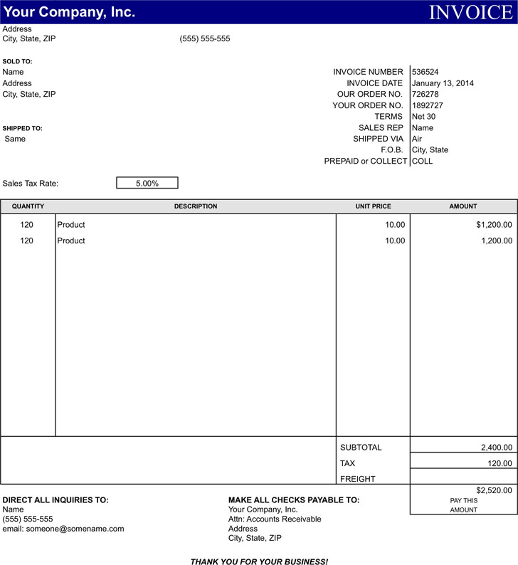 General Invoice Template 1