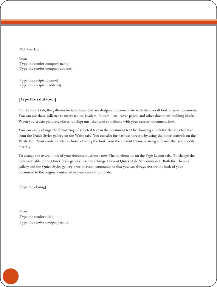 General Letter Template 1