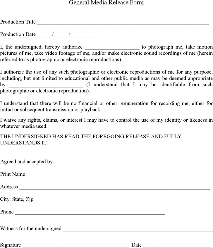 General Media Release Form 2