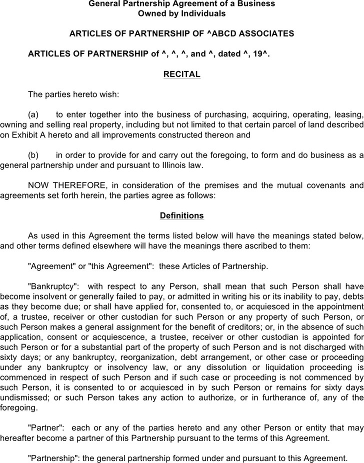 General Partnership Agreement of A Business