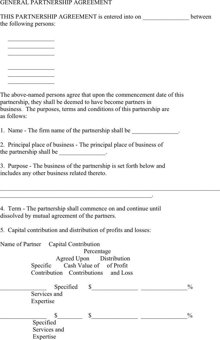 General Partnership Agreement Template
