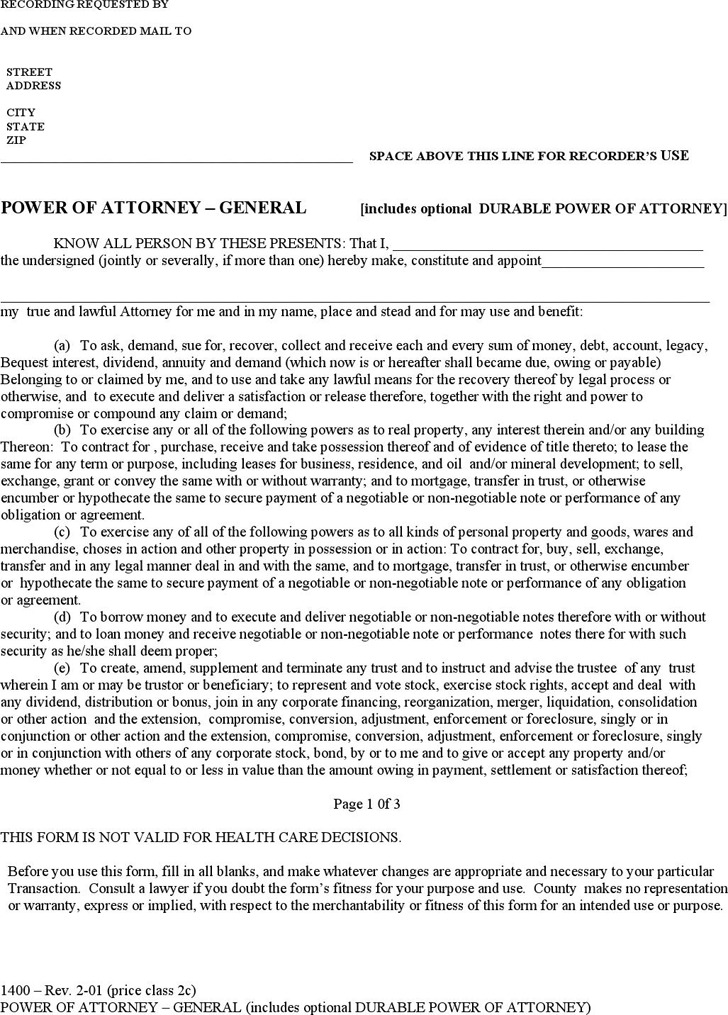 General Power of Attorney Form 2