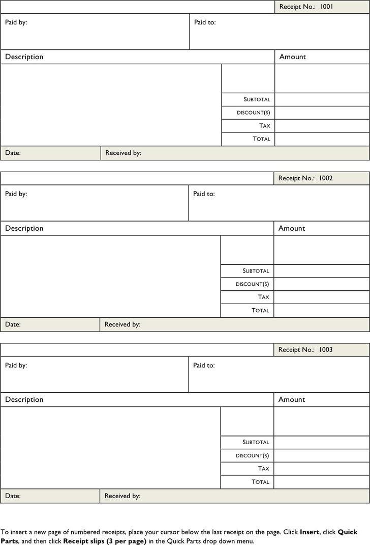 Free Printable Receipt Forms
