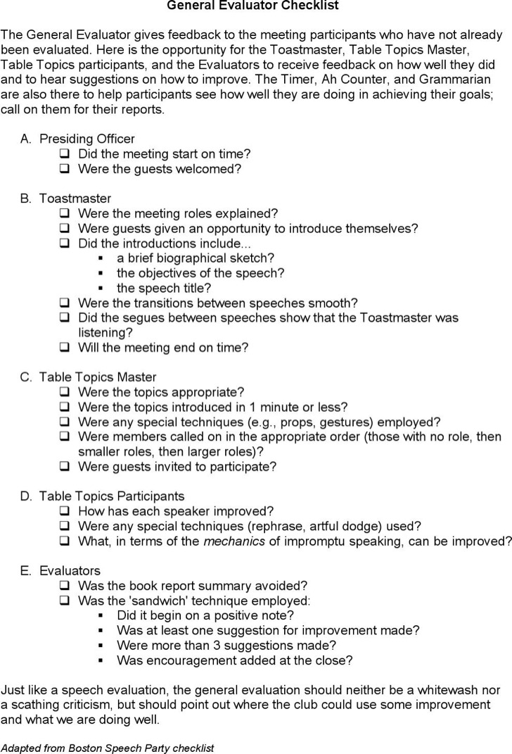 General Toasmasters Evaluator Checklist Template Word Doc Download
