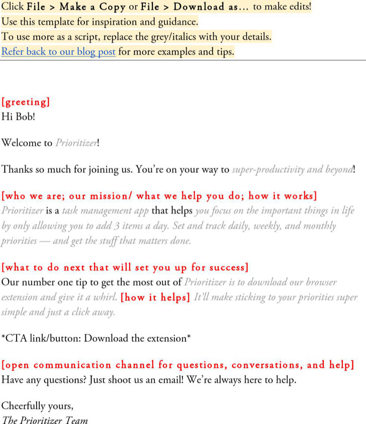 General Welcome Email Template