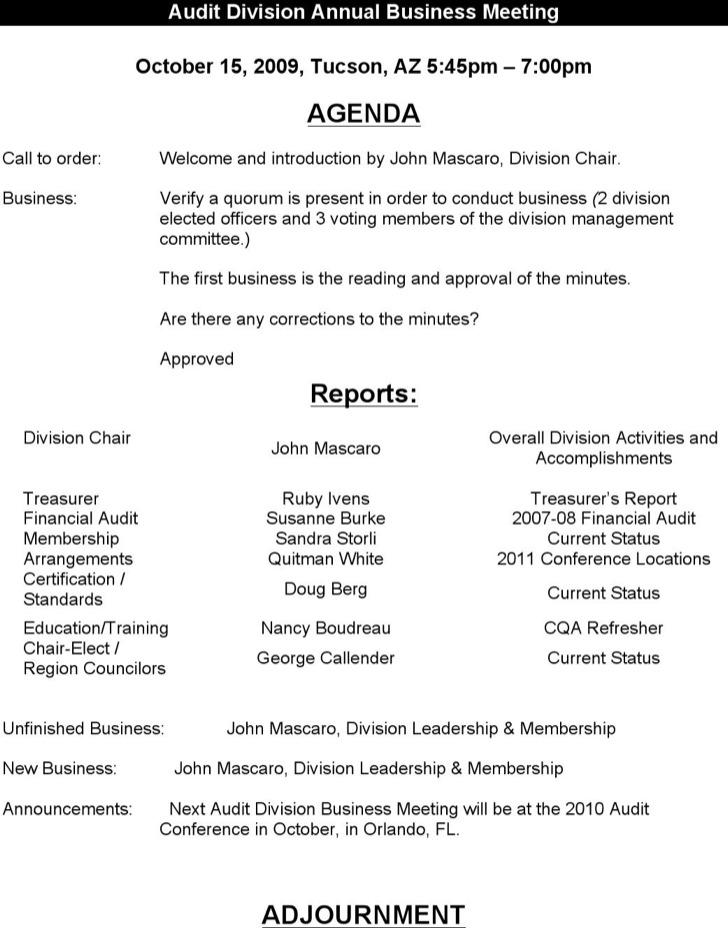 Generic Budget Meeting Agenda Sample