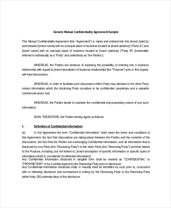 Generic Mutual Confidentiality Agreement Sample