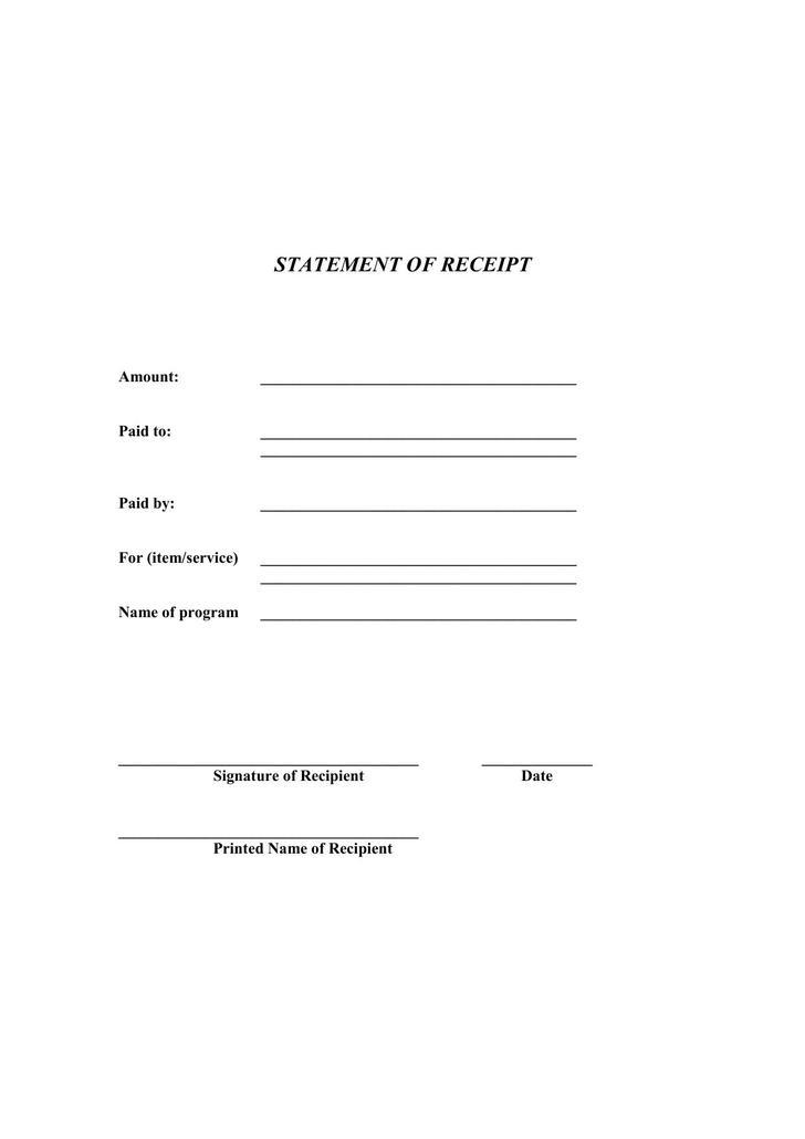 Generic Receipt PDF Format